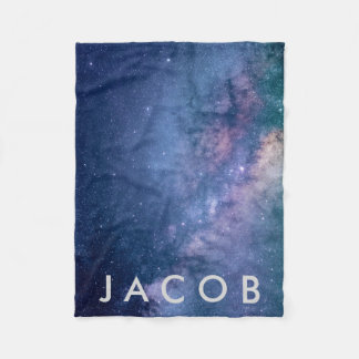 Galaxy • Space Background w/ Name Fleece Blanket