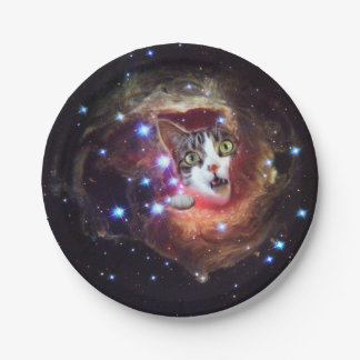 """""""Galaxy Space Cats"""" LOL Funny Paper Plates 7"""""""