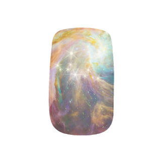 Galaxy Space Nebula Blue Gold Aqua Green Purple Minx Nail Art