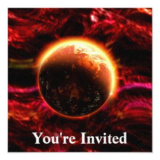 "Galaxy Stars Flaming Aurora 5.25"" Square Invitation Card"