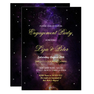 Galaxy Stars Space Love Sky Engagement Invitation