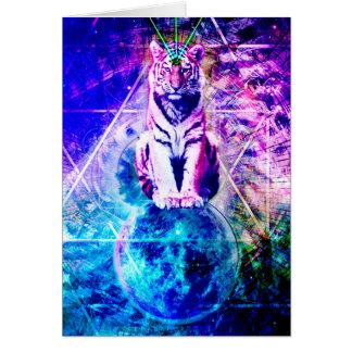 Galaxy tiger - pink tiger - 3d tiger - laser tiger card