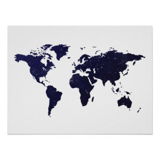 Galaxy Universe Stars World Map Poster