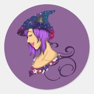 Galaxy Witch Classic Round Sticker
