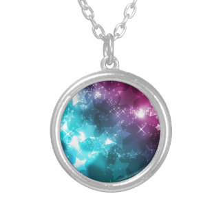 Galaxy with stars silver plated necklace