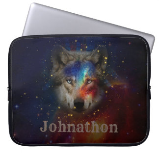 Galaxy Wolf For Men And Teen Boys Laptop Sleeve