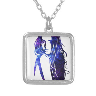 Galaxy woman - Woman Galaxy Silver Plated Necklace