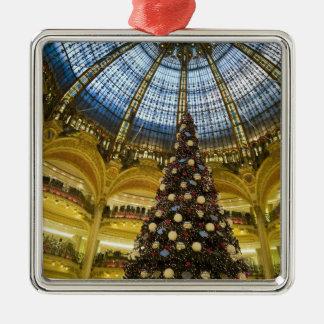 Galeries La Fayette at Christmas, Paris, France Silver-Colored Square Decoration