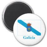 Galicia flag with name 6 cm round magnet