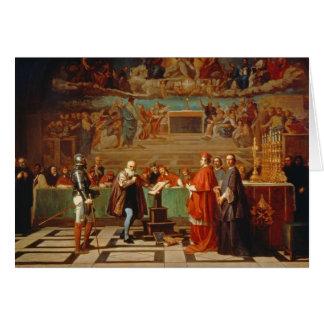 Galileo Galilei (1564-1642) before members of the Card