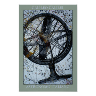 Galileo Map & Compass Poster