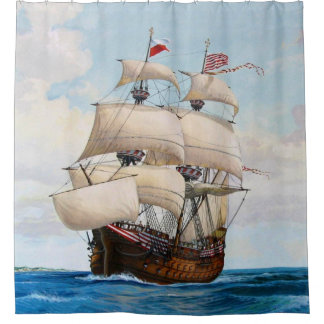 Galleon Warship At Sea Shower Curtain