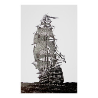 Galleon's pen and ink drawing in black and white poster