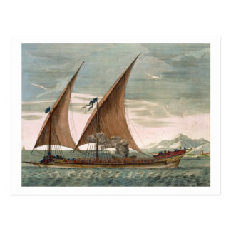 Galley under sail, flying standard of the Commande Postcard