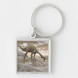 Gallimimus dinosaur - 3D render Silver-Colored Square Key Ring