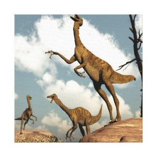 Gallimimus dinosaurs - 3D render Canvas Print