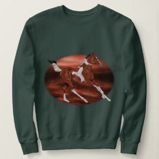 Galloping Bay and White Paint Horse Foal Sweatshirt