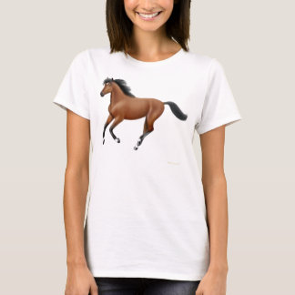 Galloping Bay Horse Ladies Babydoll Shirt