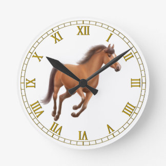Galloping Bay Horse Wall Clock