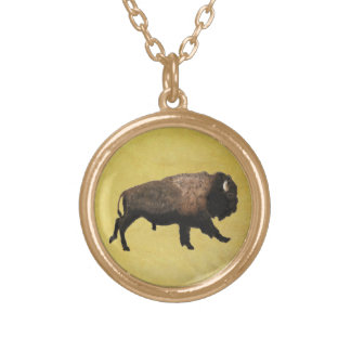 Galloping Bison Gold Plated Necklace