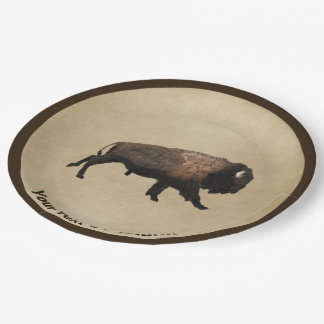 Galloping Bison On Old Paper Paper Plate
