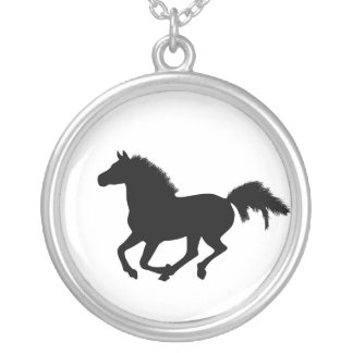 Galloping black horse silhouette necklace, gift silver plated necklace