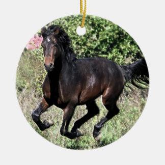 Galloping Chestnut Horse Ceramic Ornament
