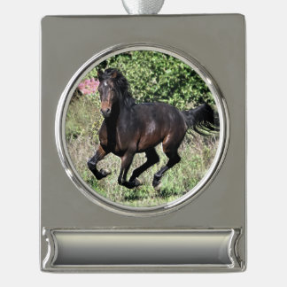 Galloping Chestnut Horse Silver Plated Banner Ornament