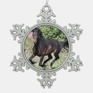 Galloping Chestnut Horse Snowflake Pewter Christmas Ornament