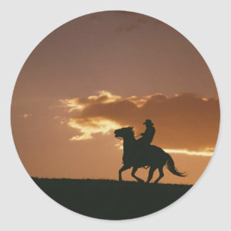 Galloping Cowboy Silhouette Stickers