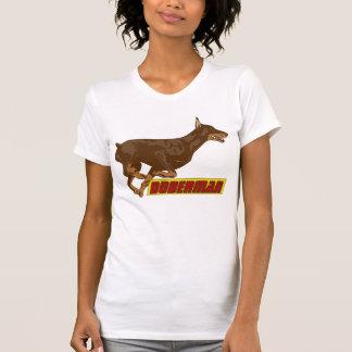 Galloping Doberman-red T-Shirt