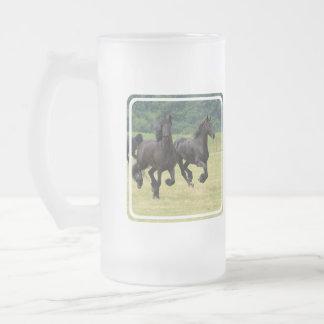 Galloping Friesian Horses  Frosted Mug