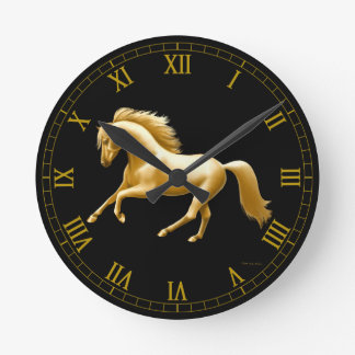Galloping Golden Horse Wall Clock