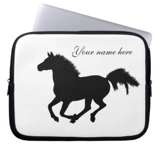 Galloping horse black silhouette laptop bag