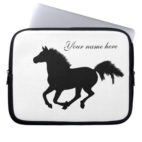 Galloping horse black silhouette laptop bag
