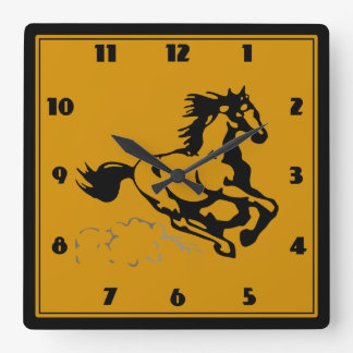 Galloping Horse Wild and Free Square Wallclock
