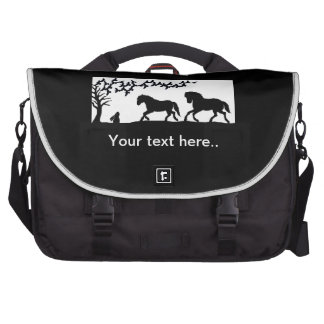 Galloping horses in a country scene laptop computer bag
