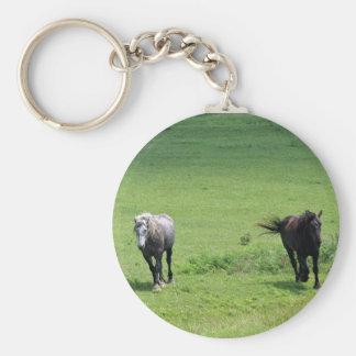 Galloping Horses Basic Round Button Key Ring