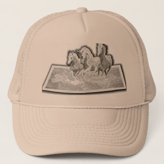 GALLOPING HORSES ON BASEBALL CAP