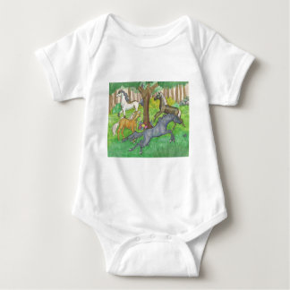 Galloping Mustang Horses in Forest Trees Ponies Baby Bodysuit