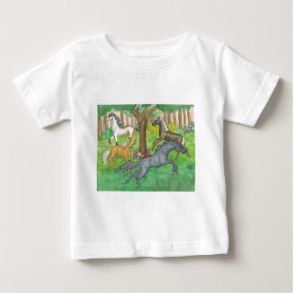 Galloping Mustang Horses in Forest Trees Ponies Baby T-Shirt