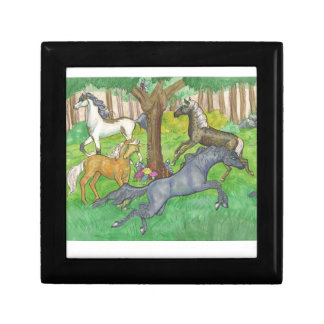 Galloping Mustang Horses in Forest Trees Ponies Gift Box