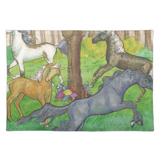 Galloping Mustang Horses in Forest Trees Ponies Placemat