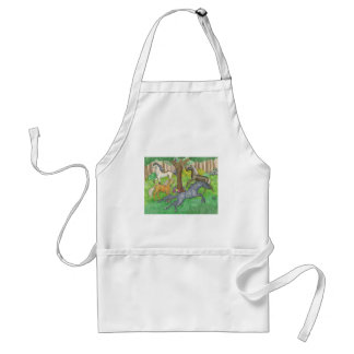 Galloping Mustang Horses in Forest Trees Ponies Standard Apron