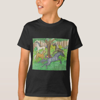 Galloping Mustang Horses in Forest Trees Ponies T-Shirt