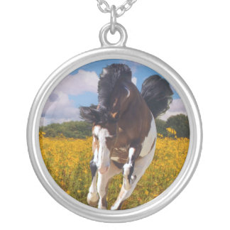 Galloping Paint Horse Round Pendant Necklace