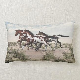 Galloping Paint Horses Lumbar Pillow