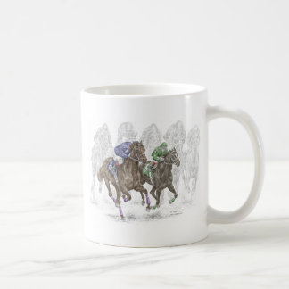Galloping Race Horses Basic White Mug