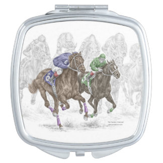 Galloping Race Horses Mirror For Makeup