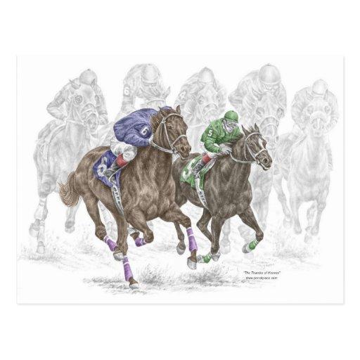 Galloping Race Horses Post Card